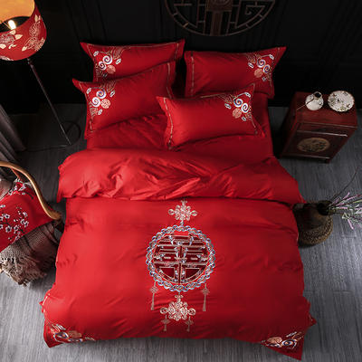 海豚湾家纺 婚床全棉被套婚庆四件套结婚床上用品新婚纯棉刺绣床品大红 1.5m(5英尺)床 世纪之恋