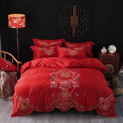 海豚湾家纺 婚床全棉被套婚庆四件套结婚床上用品新婚纯棉刺绣床品大红 1.5m(5英尺)床 百子迎福