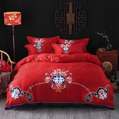 海豚湾家纺 婚床全棉被套婚庆四件套结婚床上用品新婚纯棉刺绣床品大红 1.5m(5英尺)床 成双成对