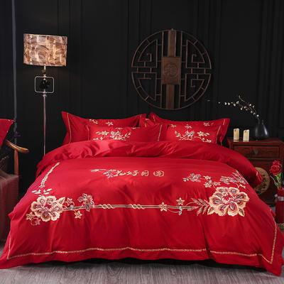 2019新款婚床全棉被套婚庆四件套结婚床上用品新婚纯棉刺绣床品大红 永不断货 1.8m(6英尺)床 花好月圆