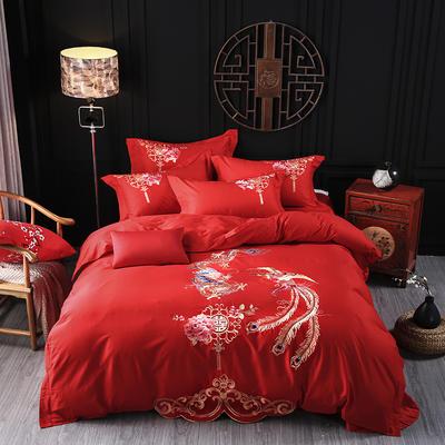 海豚湾家纺 婚床全棉被套婚庆四件套结婚床上用品新婚纯棉刺绣床品大红 1.5m(5英尺)床 龙腾凤舞