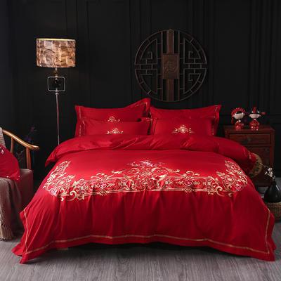 海豚湾家纺 婚床全棉被套婚庆四件套结婚床上用品新婚纯棉刺绣床品大红 1.5m(5英尺)床 十里红妆