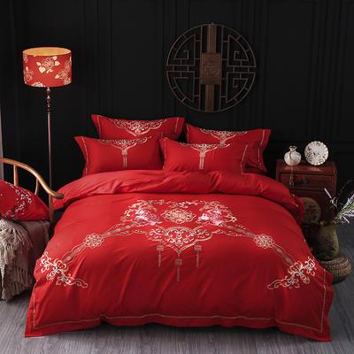 海豚湾家纺 婚床全棉被套婚庆四件套结婚床上用品新婚纯棉刺绣床品大红 1.5m(5英尺)床 幸福起点