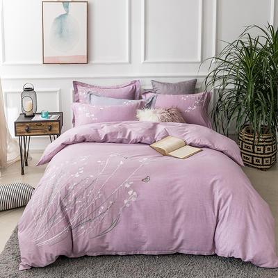2019新款60支贡缎刺绣四件套-空谷幽兰 2.0m(6.6英尺)床 空谷幽兰藕紫