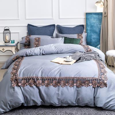 2019新款60贡缎长绒棉四件套-轻语霓裳 2.0m(6.6英尺)床 轻语霓裳灰蓝