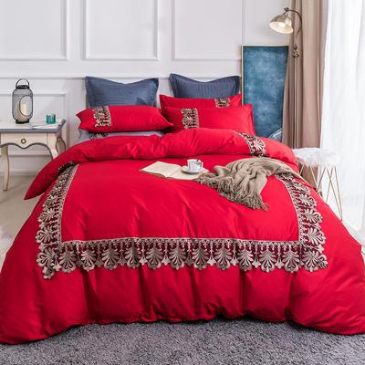 2019新款60贡缎长绒棉四件套-轻语霓裳 2.0m(6.6英尺)床 轻语霓裳绛红