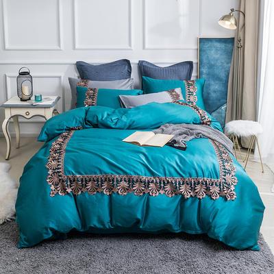 2019新款60贡缎长绒棉四件套-轻语霓裳 2.0m(6.6英尺)床 轻语霓裳蓝色