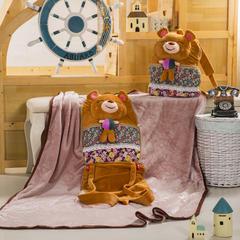 萌朵家纺  背包公仔立体抱枕毯 背包:35*40cm,毯子:110*15 小憨熊-棕色