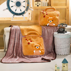萌朵家纺   三合一暖手立体抱枕毯 枕套38*38cm毯子100*150c 棕色小熊