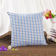 萌朵家纺  韩版色织朝阳格抱枕 47X47cm(单独枕套) 满版蓝小格