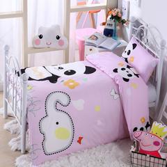 纯棉活性大版拎包款幼儿园套件 粉色熊猫 均码 丝绵款七件套(床垫套60*120cm)