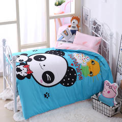 纯棉活性大版拎包款幼儿园套件 快乐熊猫 均码 棉花款七件套(床垫套60*120cm)