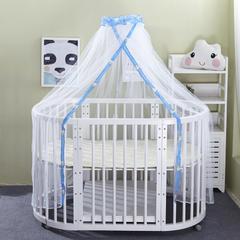萌朵家纺 宫廷式圆顶荷叶边婴儿床配套蚊帐-蓝色