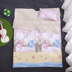 儿童活性彩棉防踢被 纯棉 婴童睡袋 被子 小童大童 LOVE兔-粉120*150一厚一薄