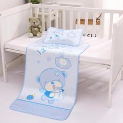 2018新款婴幼儿冰丝席套装 110CMX60CM 小熊喝水-蓝