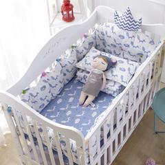 宝宝婴儿皇冠床围套件 婴儿床多件套 床围 被子 床垫 蓝灵狐 均码 套餐G