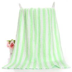 2018新款6层纱布彩条浴巾 绿条