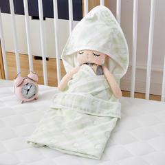 2018新款6层纱布提花婴儿抱被 1.0m(3.3英尺)床 爱心-浅绿