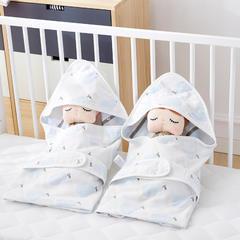 2018新款6层纱布提花婴儿抱被 1.0m(3.3英尺)床 香梨-浅蓝