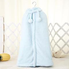 2018新款法兰绒斗篷秋冬婴儿加厚披风连帽披风儿童 蓝色110cm