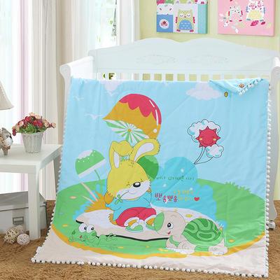 儿童夏被绒球带边款13372全棉大版花型  龟兔赛跑