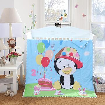 儿童夏被绒球带边款13372全棉大版花型  企鹅之梦