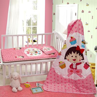 新品独家发布 全棉婴幼童三件套  樱桃小丸子(两用垫子 正面凉席  背面水晶绒)