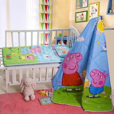 新品独家发布 全棉婴幼童三件套  小猪佩奇(两用垫子 正面凉席  背面水晶绒)