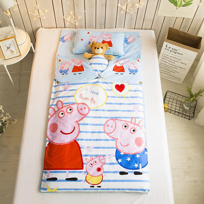 儿童睡袋   小猪佩奇条纹 小号睡袋(套子+子母棉花芯+枕芯)
