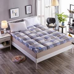 水洗棉羽丝绒床垫 蓝格 0.9x2米 【4斤】 蓝格