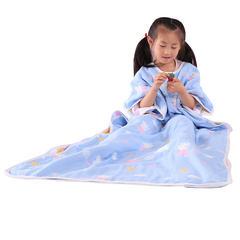 婴儿睡袋纯棉六层提花纱布睡袋儿童防踢被 蓝佩琪55*80cm