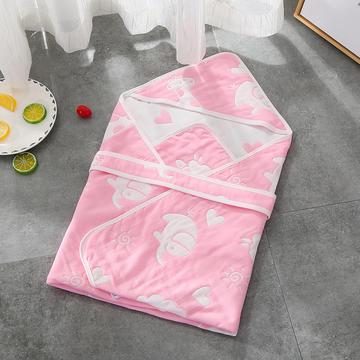 纯棉提花六层纱布抱被婴儿包被80*80cm