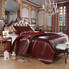 红色牛皮席(角花) 角花枕套一只 角花红色牛皮席