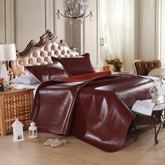 红色牛皮席(框花) 框花枕套一只 框花红色牛皮席
