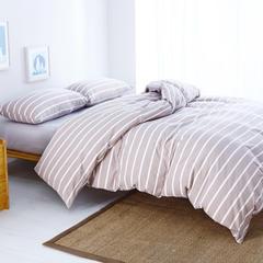 经典款水洗棉四件套(床单款) 小小号床单款 咖宽条