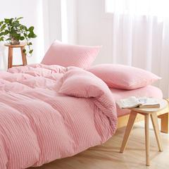 针织无印天竺棉套件(床单款) 小小号床单款 粉白细条