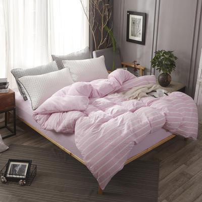 2018年春夏款色织水洗四件套 1.8m床 粉色宽条