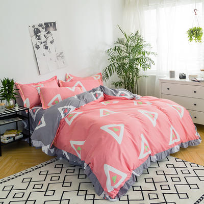 澳玛尼家纺    韩版工艺四件套 标准1.5-1.8m床 传奇人生-粉