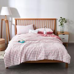 澳玛尼家纺    色织水洗棉夏被 200X230cm 大格白粉