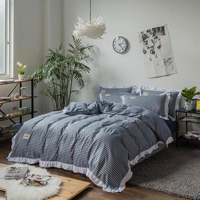 斜纹水洗棉花边四件套 标准1.5-1.8m床 藏青细条