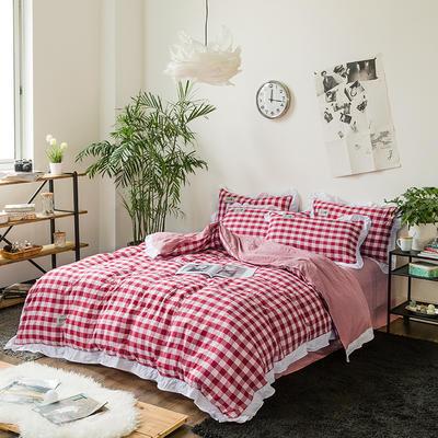 斜纹水洗棉花边四件套 标准1.5-1.8m床 红白小格