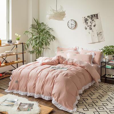 斜纹水洗棉花边四件套 标准1.5-1.8m床 橘色细条