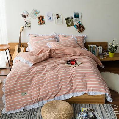 斜纹水洗棉花边四件套 标准1.5-1.8m床 橘色中条