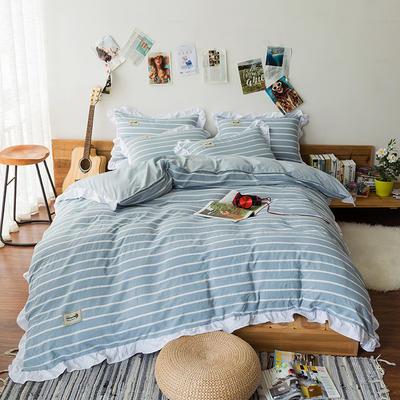 斜纹水洗棉花边四件套 标准1.5-1.8m床 浅蓝中条