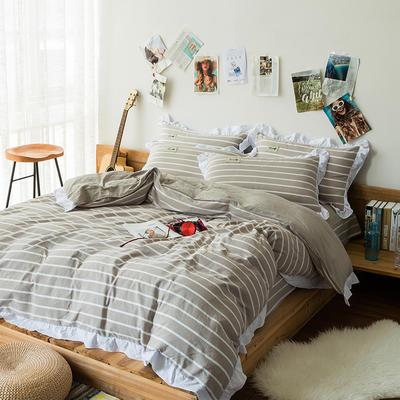 斜纹水洗棉花边四件套 标准1.5-1.8m床 驼色中条