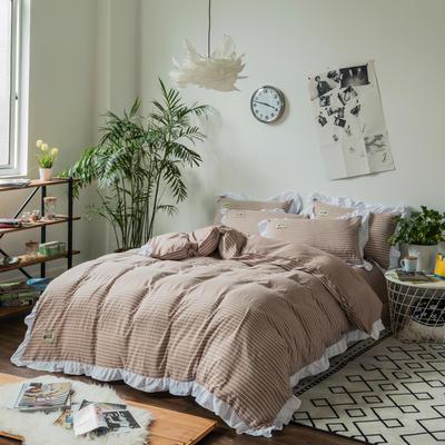斜纹水洗棉花边四件套 标准1.5-1.8m床 棕色细条