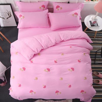 澳玛尼家纺    斜纹水洗棉蘑菇毛巾绣四件套 标准1.5-1.8m床 粉色
