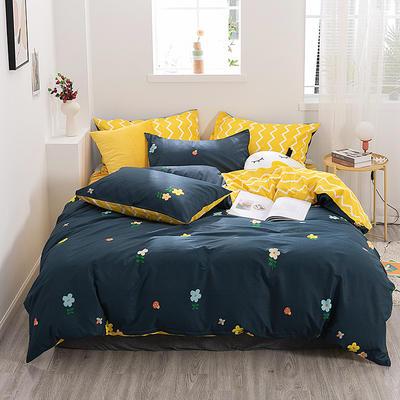 2019新款-ins风全棉学生三件套 床单款三件套0.9m床-1.2m床 泫雅小花-蓝
