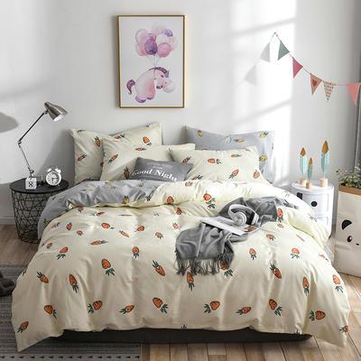 2019新款-ins风全棉学生三件套 床单款三件套0.9m床-1.2m床 胡萝卜-米