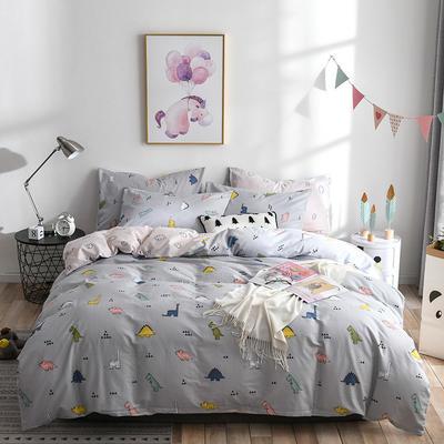 2019新款-ins风全棉学生三件套 床单款三件套0.9m床-1.2m床 卡路里-灰
